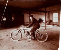 Early Clement Motorcycle Photo Signed by A.C. Sparkplug Founder Albert Champion