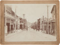 Photography:Cabinet Photos, Cabinet Card Albumen Photograph: Virginia City, Nevada Looking DownC Street Toward the International Hotel, Circa 1890....