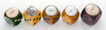 Decorative Arts, French, FIVE BAKELITE DICE-FORM THERMOMETERS . Various makers, French,circa 1935. Marks to largest: MADE IN FRANCE. 2 inches h...(Total: 5 Items)