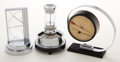 Decorative Arts, Continental, TWO ART DECO BAROMETERS AND A TEMPERATURE AND HUMIDITY GAUGE .Various makers, circa 1935. Marks: ZEISS IKON, MADE IN GERM...(Total: 3 Items)