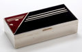 Decorative Arts, Continental, A GERMAN CHROMED METAL AND ENAMEL CIGARETTE BOX . Maker unknown,Germany, circa 1930. Marks: GERMANY. 7 inches long (17....