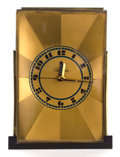 Clocks & Mechanical:Clocks, A PAUL FRANKL BRASS CLOCK BY TELECHRON . Designed by Paul T. Frankl (American 1886-1958). Manufactured by Warren Telechron C...
