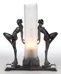 Miscellaneous:Lamps & Lighting, A FRANKART PATINATED METAL AND GLASS FIGURAL LAMP . Frankart, Inc.,New York, New York, circa 1930. Marks: FRANKART ©, PAT...