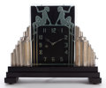 Clocks & Mechanical:Clocks, AN ART DECO ILLUMINATED GLASS AND GILT METAL CLOCK ON WOOD BASE . Maker unknown, American, circa 1935. 11-7/8 inches high (3...