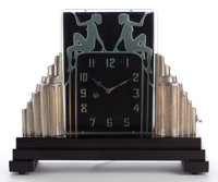 AN ART DECO ILLUMINATED GLASS AND GILT METAL CLOCK ON WOOD BASE Maker unknown, American, circa 1935 11-7/8 inc
