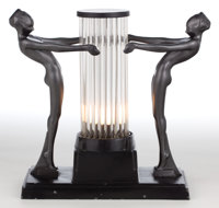 A FRANKART PATINATED METAL AND GLASS FIGURAL LAMP Frankart, Inc., New York, New York, circa 1930 Marks: FRA