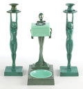 Other:American, A PAIR OF FRANKART PATINATED METAL FIGURAL CANDLESTICKS ANDSMOKER'S SET . Frankart, Inc., New York, New York, circa 1930. M...(Total: 3 Items)