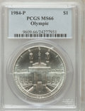 Modern Issues: , 1984-P $1 Olympic Silver Dollar MS66 PCGS. PCGS Population(24/1892). NGC Census: (0/1076). Mintage: 217,000. Numismedia Ws...