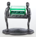 Other:American, AN ART DECO PATINATED METAL FIGURAL CIGARETTE STAND AND GLASS BOXIN THE STYLE OF FRANKART. Maker unknown, American, circa 1...