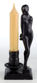 Miscellaneous:Lamps & Lighting, A FRANKART PATINATED METAL AND GLASS FIGURAL CANDLE-FORM LAMP .Frankart, Inc., New York, New York, circa 1928. Marks:FRA...