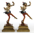 Bronze:American, A PAIR OF ART DECO COLD-PAINTED BRONZE DANCERS SIGNED D. MARTINI.Maker unidentified, American, circa 1930. Marks: D. MART...(Total: 2 Items)