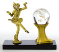 Lighting:Lamps, A COLD PAINTED BRONZE DANCER AND PEDESTAL LAMP WITH GLASS ORB . Maker unknown, American, circa 1930. 9 inches high (22.9 cm)...