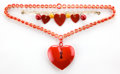 Jewelry, A BAKELITE HEART NECKLACE AND BRACELET . Maker unknown, American, circa 1935. 23 inches long (58.4 cm) (necklace). ... (Total: 2 Items)