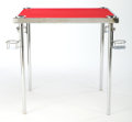 Furniture , A CHROMED METAL AND FELT COLLAPSIBLE SMOKER'S GAME TABLE . Maker unknown, American, circa 1935. 27-3/4 x 28 x 28 inches (70....
