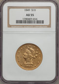 Liberty Eagles: , 1849 $10 AU55 NGC. NGC Census: (129/136). PCGS Population (31/46).Mintage: 653,618. Numismedia Wsl. Price for problem free...