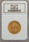 Liberty Eagles: , 1852-O $10 VG8 NGC. NGC Census: (1/100). PCGS Population (0/78).Mintage: 18,000. Numismedia Wsl. Price for problem free NG...