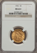 Liberty Half Eagles: , 1902 $5 MS63+ NGC. NGC Census: (250/147). PCGS Population(211/103). Mintage: 172,400. Numismedia Wsl. Price for problemfr...
