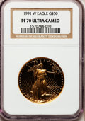 Modern Bullion Coins: , 1991-W G$50 One-Ounce Gold Eagle PR70 Ultra Cameo NGC. NGC Census:(637). PCGS Population (87). Mintage: 50,411. Numismedia...