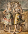 Fine Art - Painting, American:Contemporary   (1950 to present)  , REGINALD MARSH (American, 1898-1954). Two Girls, 1951. Oil on masonite panel. 23-1/2 x 19-1/2 inches (59.7 x 49.5 cm). S... (Total: 2 Items)