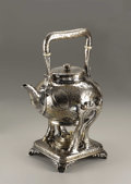 Silver & Vertu:Hollowware, An American Japonisme Style Silver Hot Water Kettle on Stand. Tiffany & Company, New York, New York. 1881. Silver and iv...