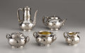 Silver Holloware, American:Tea Sets, An American Japonisme Style Five Piece Coffee and Tea Service.Tiffany & Company, New York, New York. 1881. Silver, silv...(Total: 5 Items)