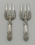 Silver Flatware, American:Gorham, A Pair of American Silver Bread Forks. Gorham ManufacturingCompany, Providence, Rhode Island. 1892. Silver. Marks: (l...
