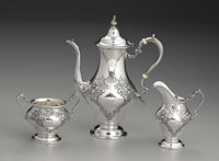 An American Silver Three Piece Tea Service  Gorham Manufacturing Company, Providence, Rhode Island 1950 Silver and ivor...