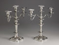 Silver Holloware, British:Holloware, A Pair of Silver Plate Candelabrum. Unknown maker, possibly Englandor America. Twentieth Century. Silver plate. Unmarked... (Total: 2Item)