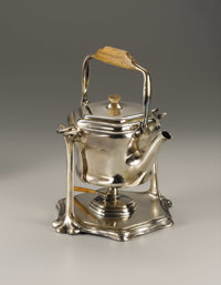 An American Silverplate Tea Kettle on Stand  Designed by Louis Comfort Tiffany (American, 1848-1933) Tiffany Studios...