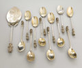 Silver Flatware, American:Other , An American Silver Ice Cream Set. Unknown maker, American. LateNineteenth Century. Silver and silver gilt. Marks: STER...(Total: 13 )