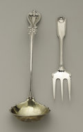 Silver Flatware, American:Other , An American Silver Ladle and Serving Fork. Towle, Newburyport,Massachusetts. Circa 1895 and 1904. Silver, gilt. Marks: la...(Total: 2 )