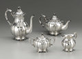 Silver Holloware, Continental:Holloware, A Continental Silver Four Piece Tea Service. Unknown maker,Continental. Twentieth Century. Silver and horn. Marks: STE...(Total: 4 )