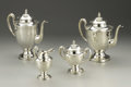 Silver & Vertu:Hollowware, A Mexican Silver Four Piece Coffee and Tea Service. Unknown maker, Mexico. Twentieth Century. Silver and ivory. Marks: ... (Total: 4 Item)