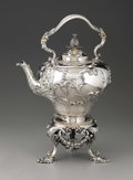 Silver Holloware, British:Holloware, A Victorian Silver Hot Water Kettle on Stand. John Samuel Hunt,London, England. 1854-55. Silver and ivory. Marks: (lion ...