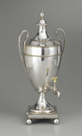 Silver Holloware, British:Holloware, An English Silver Plate Tea Urn. Unknown maker, England. NineteenthCentury. Silver plate and ivory. Unmarked. 21 in. high...