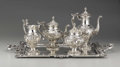 Silver Holloware, Continental:Holloware, A Portuguese Silver Four Piece Coffee and Tea Service and Tray.Unknown makers, Porto, Portugal. Retailed by Ourivesaria X...