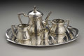 Silver Holloware, Continental:Holloware, A Secessionist Silver Tea Service. V. Mayer & Sohne, Vienna,Austria. Circa 1900-1915. Silver, silver plate and ivory. Mar...(Total: 5 )