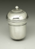 Silver Smalls:Other , A George III Silver Nutmeg Grater . Unknown maker, England. LateEighteenth Century. Silver and steel. Unmarked. 1.75 in. ...