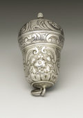 Silver Smalls:Other , A Silver Nutmeg Grater. Unknown maker, possibly England. NineteenthCentury. Silver. Marks: DF. 2 in. long. Of urn ...