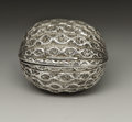 Silver Smalls:Other , A Victorian Silver Nutmeg Grater . Hilliard & Thomason,Birmingham, England. 1866-67. Silver and steel. Marks: (lionpass...