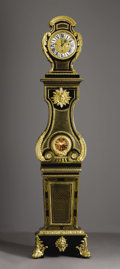 Furniture: French, An Important French Ebonized Wood, Stained Horn and Gilt BronzeRegulator Clock. The case attributed to Andre-Charles Bou...