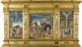 Paintings, An Italian Religious Watercolor Triptych. After Andrea Mantegna (Italian, ca.1431-1506). Twentieth Century. Watercolor on ...