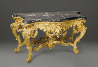 A Pair of Italian Rococo Style Giltwood Consoles  Unknown maker, Italy Nineteenth Century Gilded wood and marble Unmark...