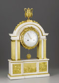 Decorative Arts, French:Other , A French Louis XVI Marble and Gilt Bronze Clock. Unknown maker,France. Circa 1780. Marble and gilt bronze. Unmarked. 27.5...