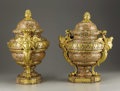 Decorative Arts, French:Other , A Pair of French Louis XVI Style Gilt Bronze Mounted Granite Vases.Unknown maker, Paris, France. Early Nineteenth Century... (Total: 4Items)