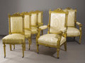 Furniture : Continental, A Set of Ten Continental Louis XVI Style Giltwood Dining Chairs.Unknown maker, Continental. Late Ninenteenth Century. Gil...(Total: 10 Items)