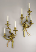 Decorative Arts, French:Lamps & Lighting, A Pair of French Louis XV Style Gilt Bronze Wall Lights. Unknownmaker, France. Nineteenth Century. Gilt bronze. Unmarked... (Total:2 Items)