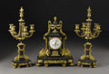 Decorative Arts, French:Other , A Louis XVI Style Patinated and Gilt Bronze Clock Garniture.French. Late Nineteenth Century. Patinated and gilt bronze . ...