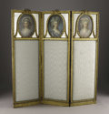 Furniture, A French Louis XVI Style Giltwood Three-fold Screen. Unknown maker, France. Nineteenth Century. Gilded wood, pastel on pap... (Total: 3 Items Item)