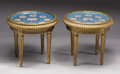 Furniture: French, A Pair Of Louis XV Style Gilt Wood Occasional Tables. France.Nineteenth Century. Porcelain, enamel, gilt, wood. 18 in. hi...(Total: 2 Items)